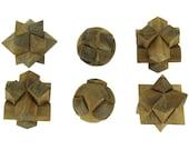 Natural Teak Wood Hand Carved Puzzle Balls Set of 6
