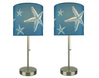Brushed Nickel Finish Coastal Table Lamp With Blue Starfish Shade Set of 2