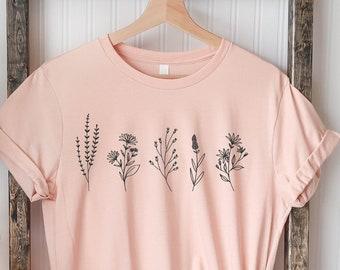 Flowers T-Shirt, Sunflower T-Shirt, Floral T-shirt, Dainty Wildflower Tee, Vintage Wildflowers ,inspirational shirt