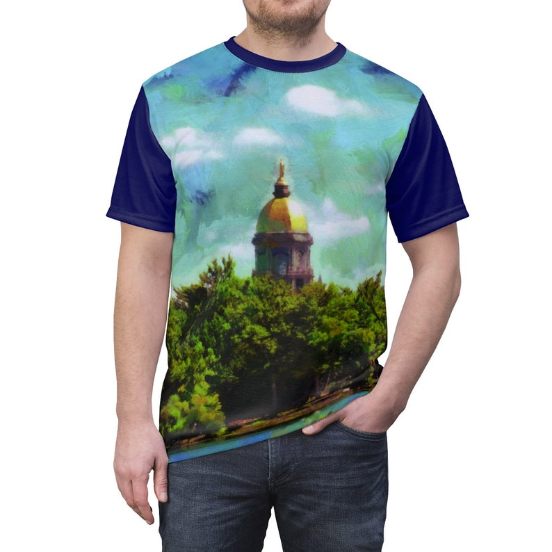ND Dome Unisex Jersey Tee with Dark Blue Sleeves. image 0