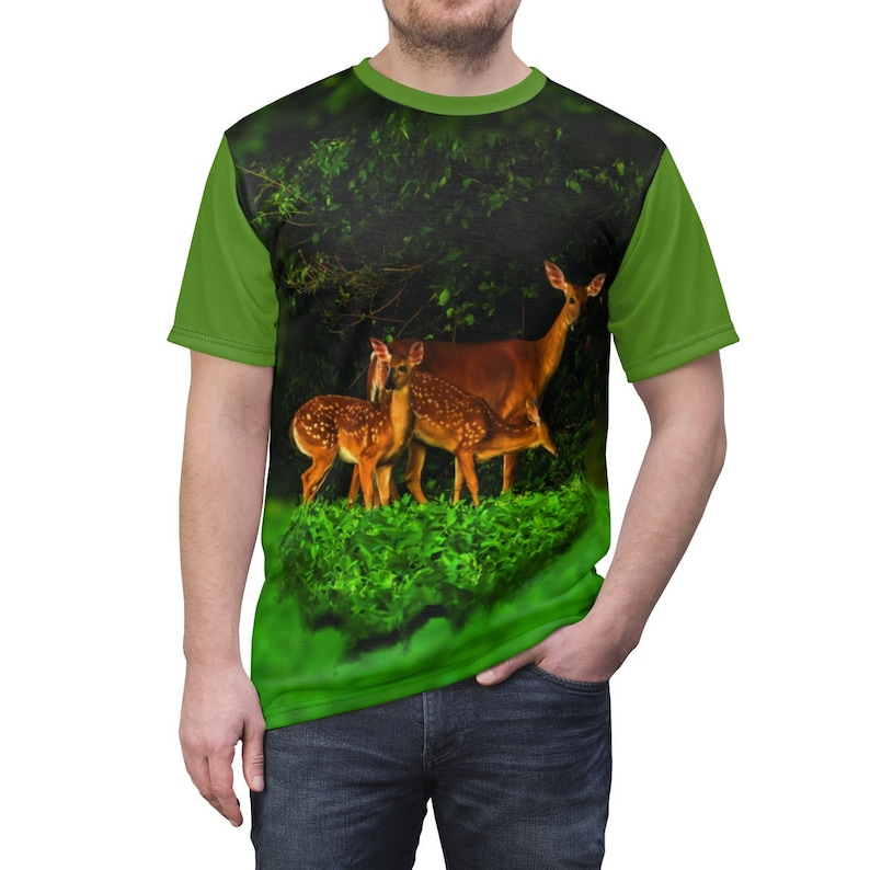 White Tail Doe with Fawns Unisex Jersey with Light Green image 0