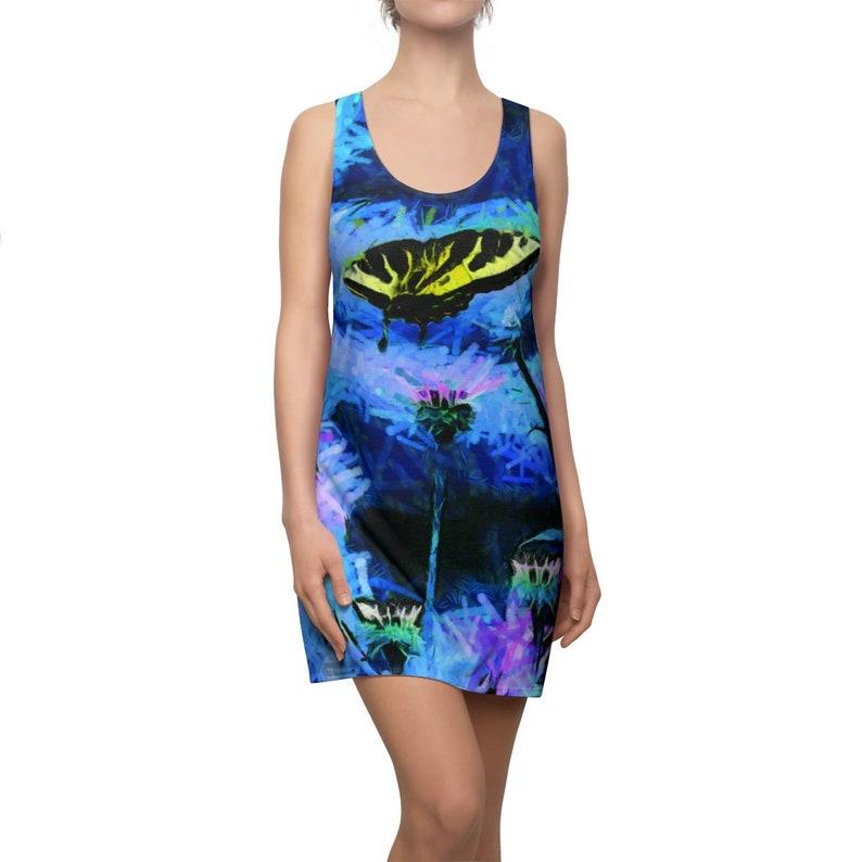 Stunning Yellow Butterfly on Blue Womens Dress image 0