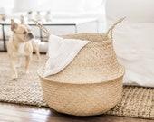 Woven Natural Seagrass Storage Basket Belly Basket Home Decor Basket Wicker Planter