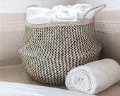 Woven Black Chevron Seagrass Basket Black Zig Zag Wicker Basket Foldable Belly Basket with Handles