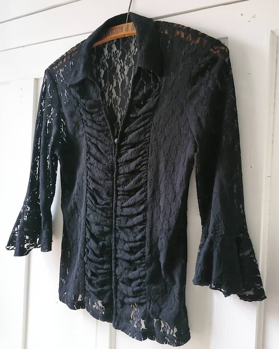 Vintage black lace dagger collar ruffle blouse by