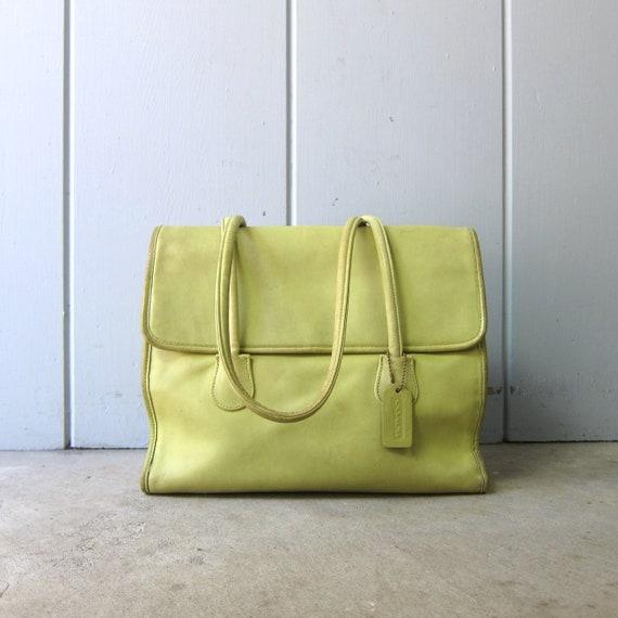1980s Chartreuse Green Coach Bag | Large Coach Dou