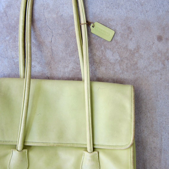 1980s Chartreuse Green Coach Bag | Large Coach Do… - image 2