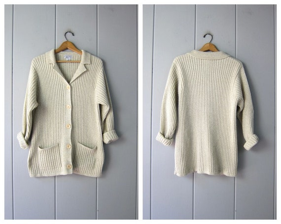 Long Ribbed Cardigan Sweater | 90s Natural Oatmeal