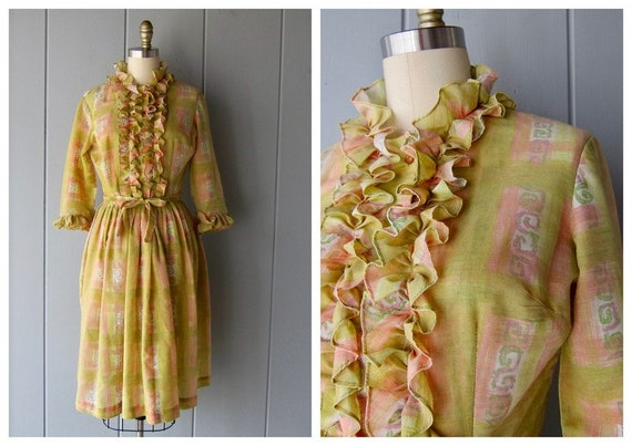 60s Ruffle Dress   Spring Midi Dress   Yellow Char