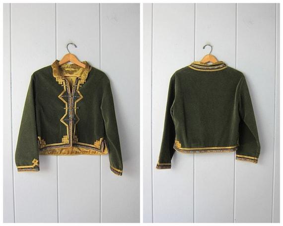 Green Velvet Textile Coat | Kimono Style Jacket |