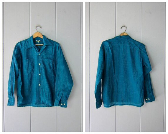 1950s Textured Nylon Button Up Shirt | Crinkled Te