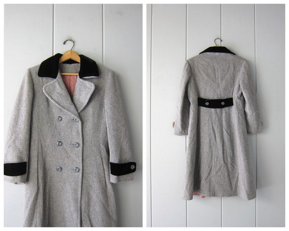 Vintage Grey Wool Princess Coat   Fit and Flare Tr