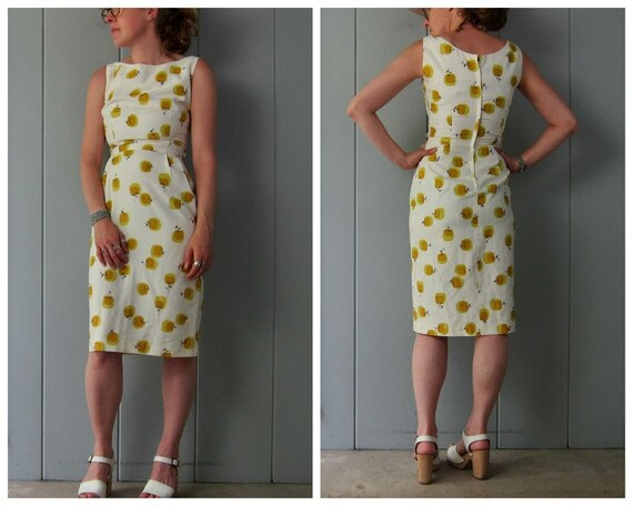 40s Wiggle Dress | White Chartreuse Printed Dress