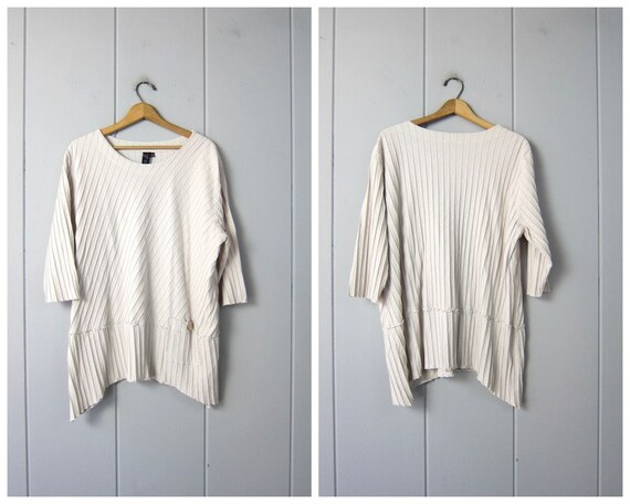 Ribbed Cotton Tunic Top | Textured Ecru Off White