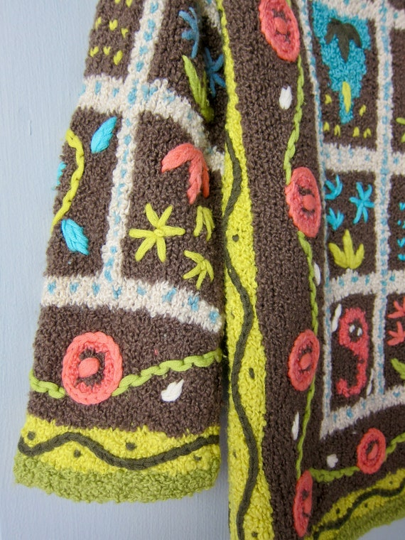 Vintage Hand Knit Italian Sweater | Colorful Flor… - image 7