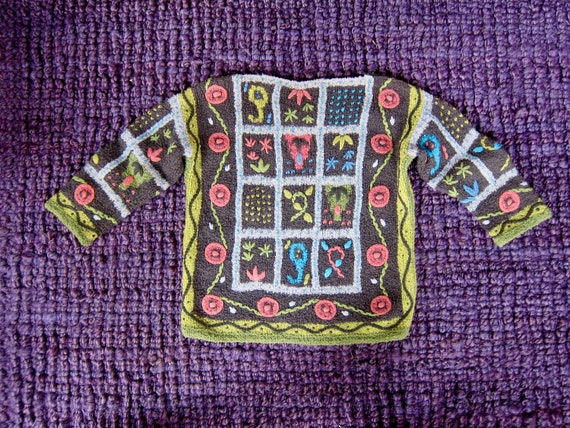 Vintage Hand Knit Italian Sweater | Colorful Flor… - image 9
