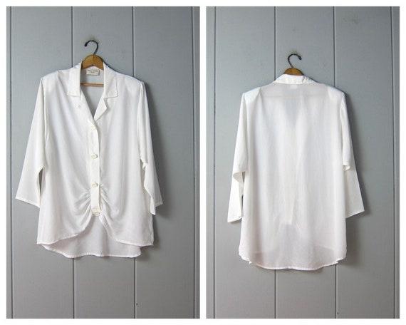 80s Oversized White Blouse   Vintage Button Up Tun