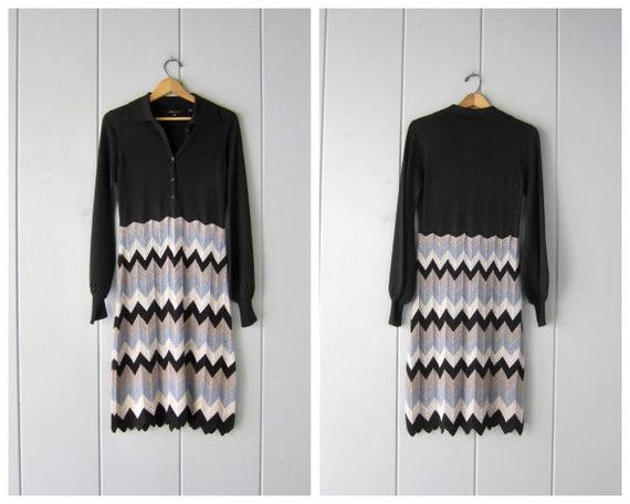 Black Wool Knit Dress with Chevron Knit Skirt | Vi