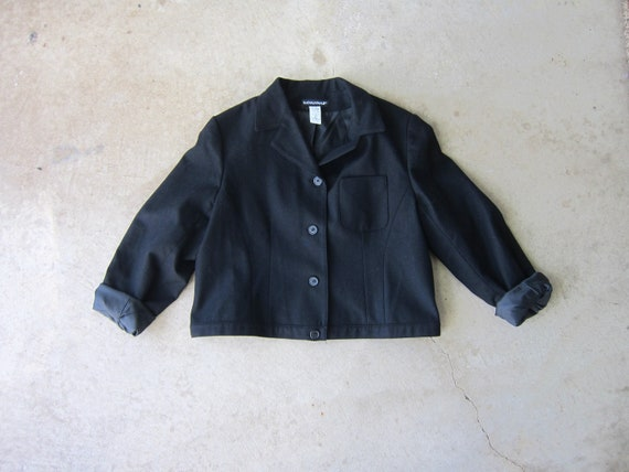 80s Black Wool Jacket | Modern Button Up Cropped C