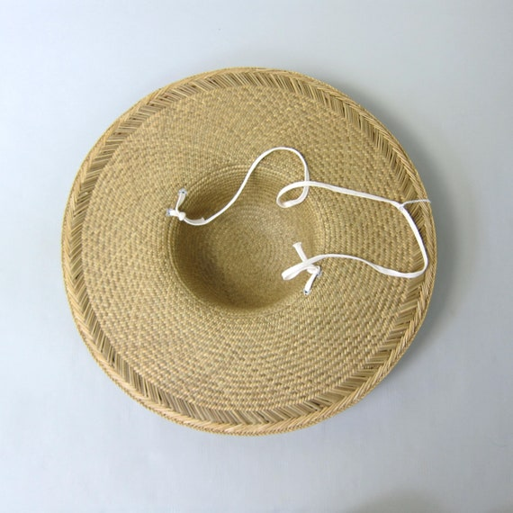80s Straw Hat | Vintage Large Woven Straw Sun Hat… - image 6