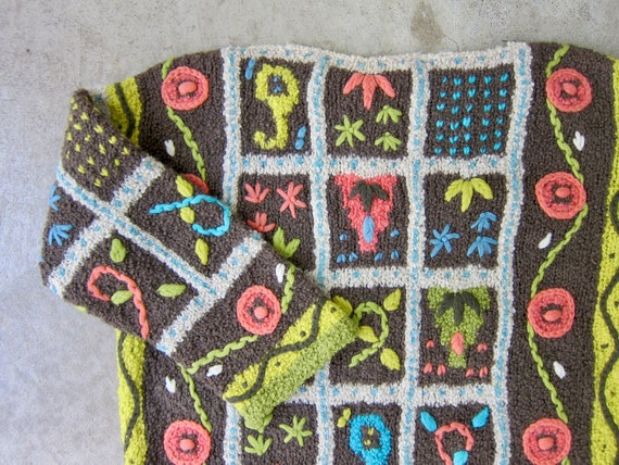 Vintage Hand Knit Italian Sweater | Colorful Flor… - image 3