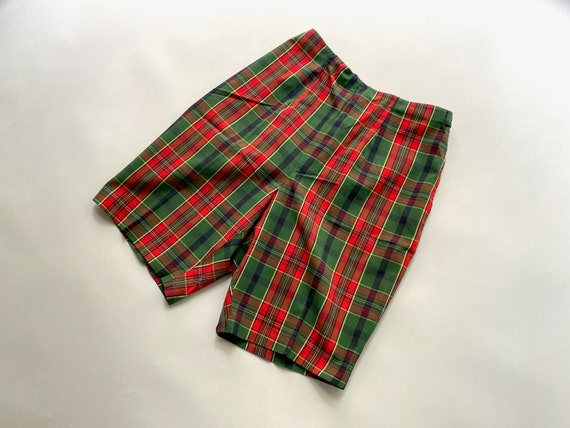 60s Tailored High Waist Tartan Shorts | Skinny Sh… - image 7