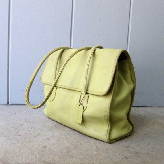 1980s Chartreuse Green Coach Bag | Large Coach Do… - image 4