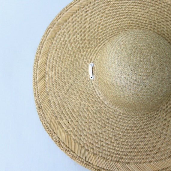80s Straw Hat | Vintage Large Woven Straw Sun Hat… - image 3