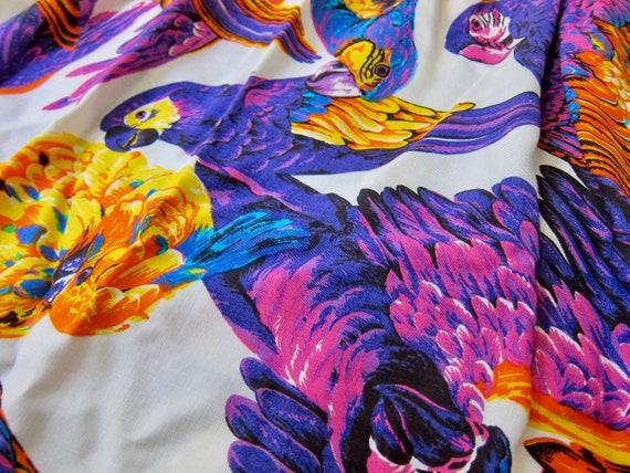 Vintage Colorful Bird Mini Skirt | Tropical Parro… - image 2