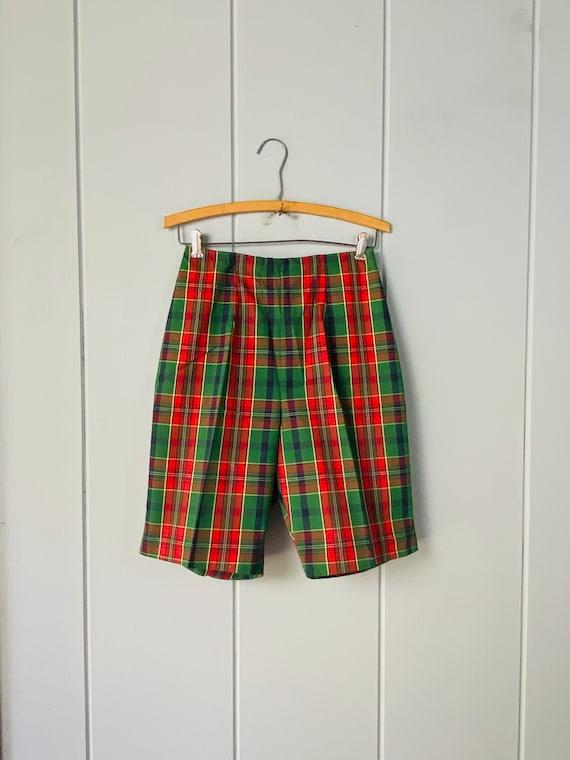 60s Tailored High Waist Tartan Shorts | Skinny Sh… - image 2