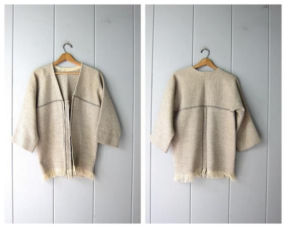 70s Natural Wool Jacket | Handwoven Wool Blanket C