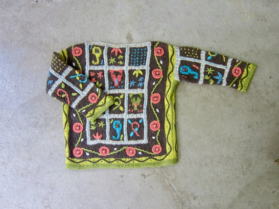 Vintage Hand Knit Italian Sweater | Colorful Flor… - image 1