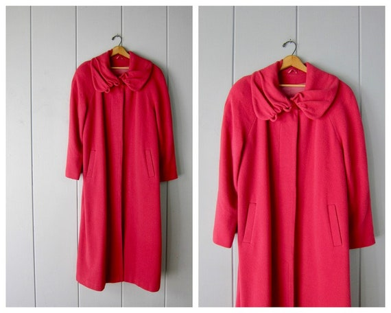 1950s Pink Wool Coat | Vintage Long Button Up Wint