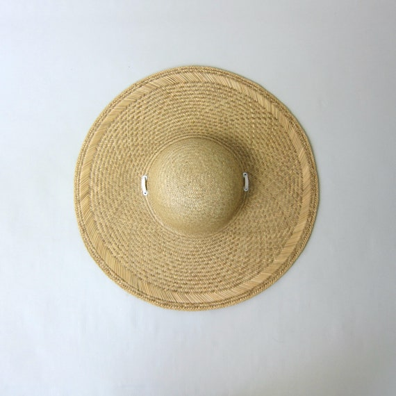 80s Straw Hat | Vintage Large Woven Straw Sun Hat… - image 5