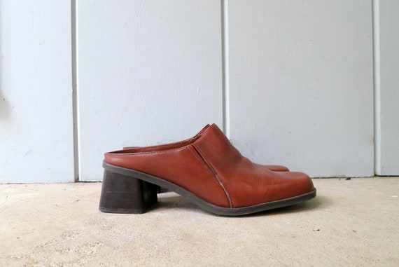 90s Brown Leather Mules   Modern Brown Leather Sl… - image 1