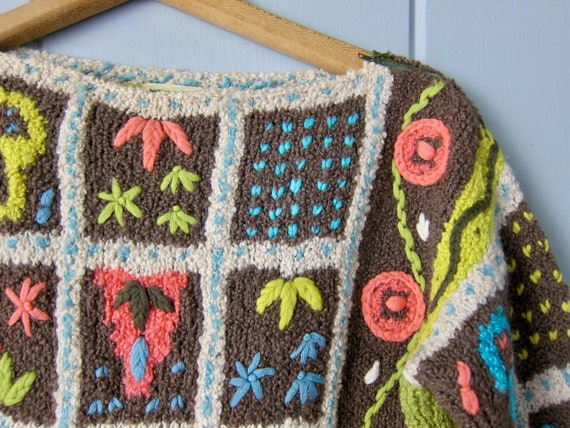 Vintage Hand Knit Italian Sweater | Colorful Flor… - image 4