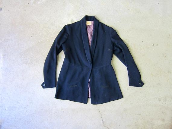 IRIS 1930s Navy Blue Wool Blazer   One Snap Up Wom