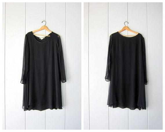 Minimal Black Silk Dress | Loose Fit Silk Midi Dre