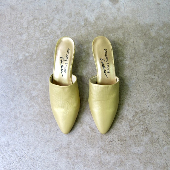 Gold Leather Mules | 80s Jacques Levine Couture Sl