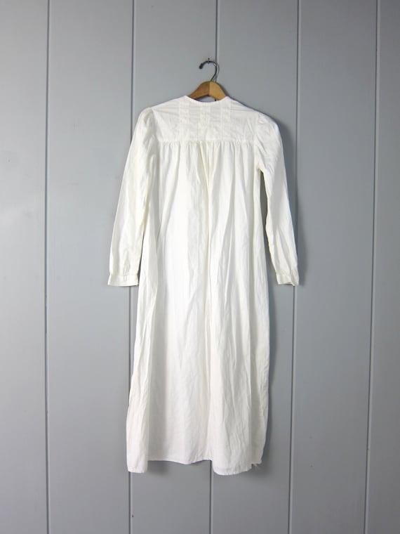 Antique Long White Cotton Nightgown | Edwardian V… - image 9