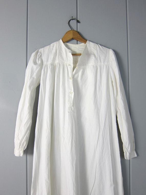 Antique Long White Cotton Nightgown | Edwardian V… - image 4