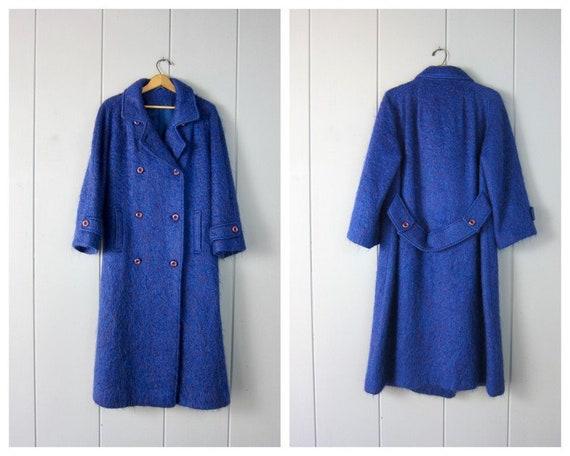 Long Handwoven Mohair Coat | Vintage Blue & Purple