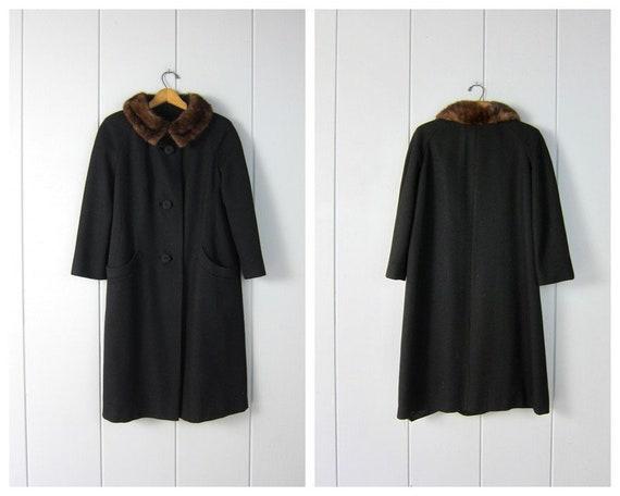 1950s Black Wool Knit Coat | Vintage Brown Fur Col