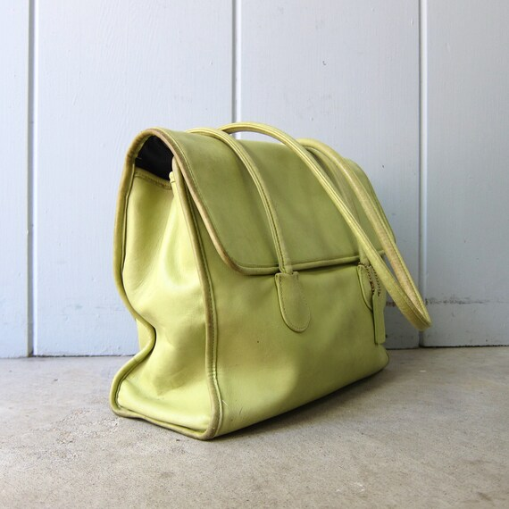 1980s Chartreuse Green Coach Bag | Large Coach Do… - image 3