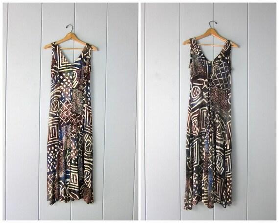90s Tribal Boho Sun Dress | Long Button Down Color