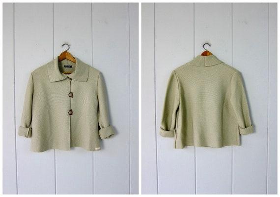 Saint James Wool Rib Cardigan | 90s Neutral Knit S