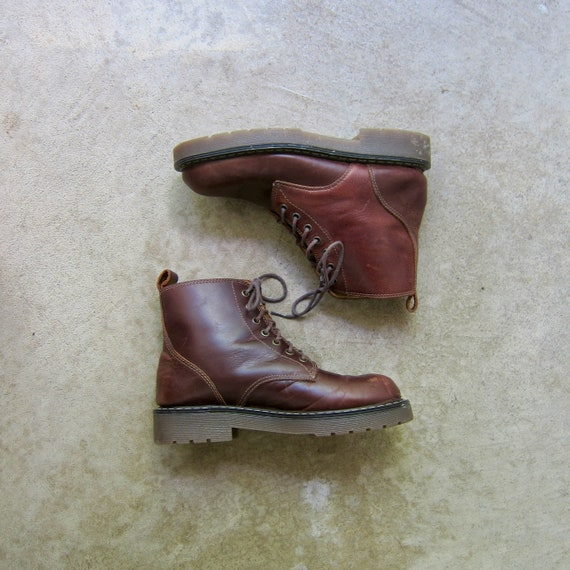 90s Brown Leather Boots   Vintage Chunky Ankle Boo