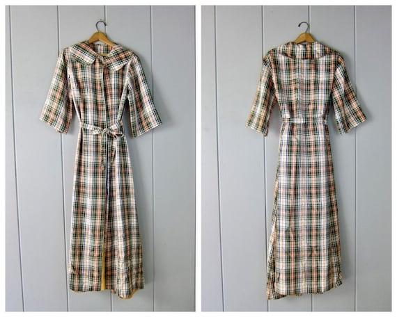 Vintage Long Taffeta Jacket | 40s Plaid Opera Coat