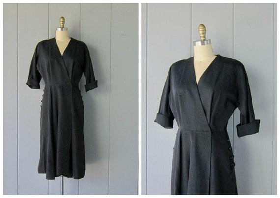 1950s Black Wrap Dress | Vintage Modern Dress Coat