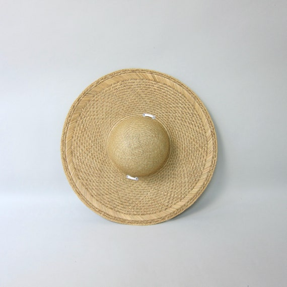 80s Straw Hat | Vintage Large Woven Straw Sun Hat… - image 1